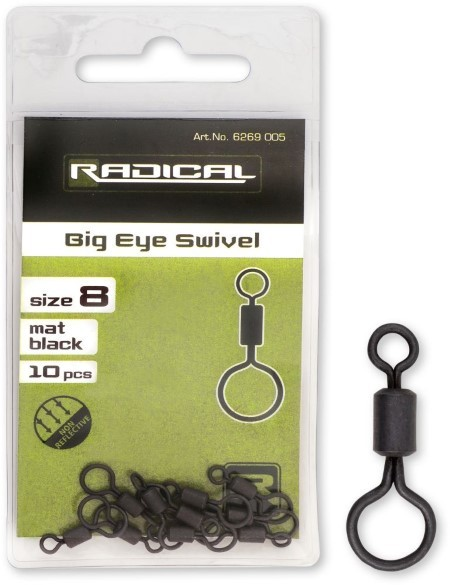 Radical Wirbel mit grossem Öhr Mat Black Non Reflectiver Gr.8 10Stk