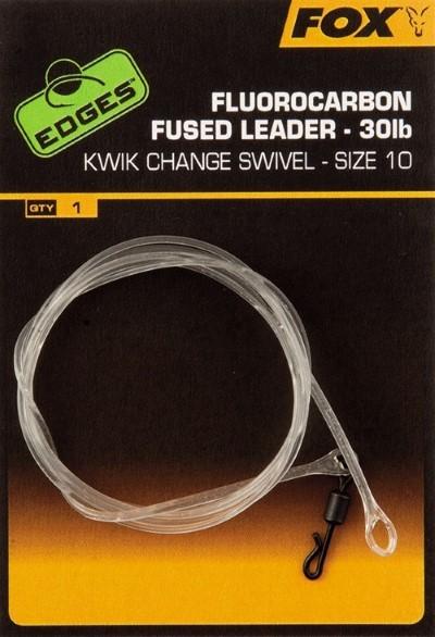 Fox Flurocarbon Fused Leader mit Größe 10 Kwik Change Swivel