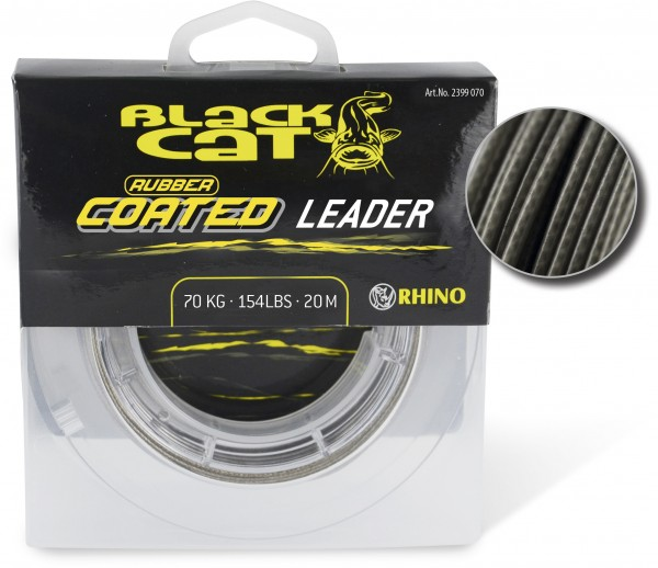 Black Cat Rubber Coated Leader 20m 100kg grau