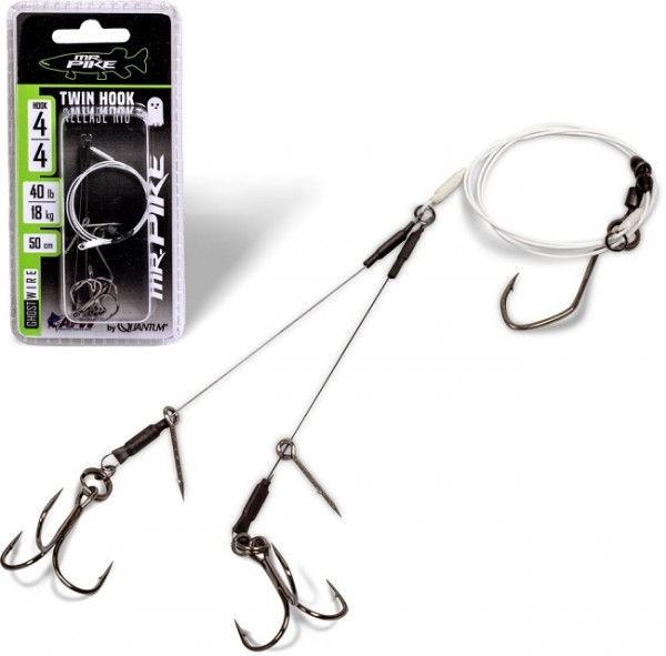 Quantum Mr. Pike Ghost Traces Twin Hook-Release-Rig mit 50cm Vorfach