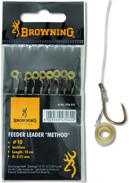 Browning Feeder Method Vorfachhaken Barbless mit Pellet-Band Vorfach 10cm